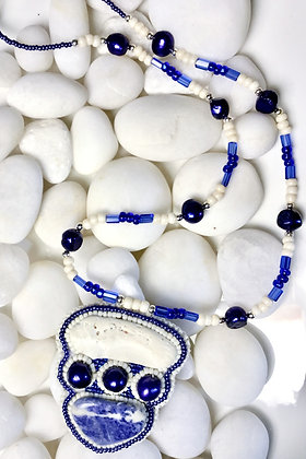 Bead Embroidered Sodalite Necklace