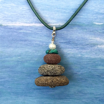 3 Speckled  Brown Stones with Turquoise and a Pearl