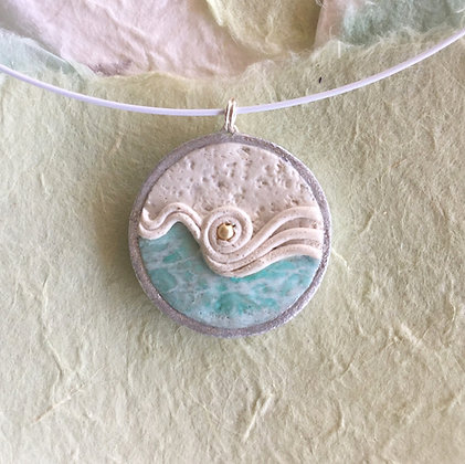 Polymer Clay Wave Pendant