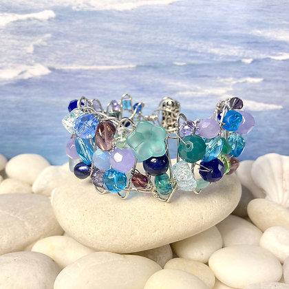Blue Green Beaded Bracelet