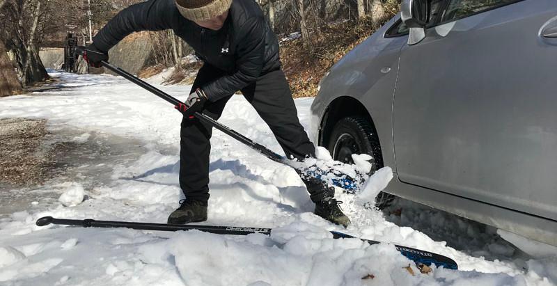 SUPに行って車が雪にスタック