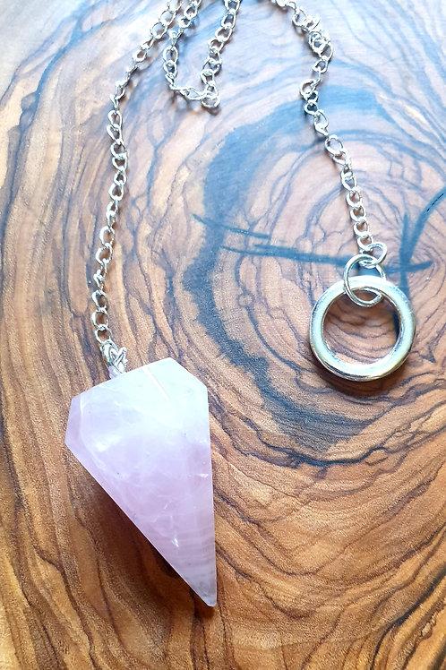 Rose Quartz pendulum large