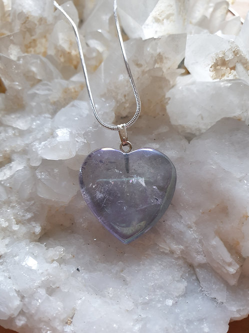 Lavender Aura quartz heart