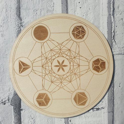 Metatrons cube crystal grid disc