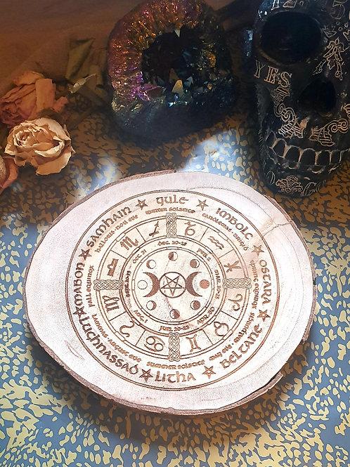 Pentagram triple moon pagan wheel