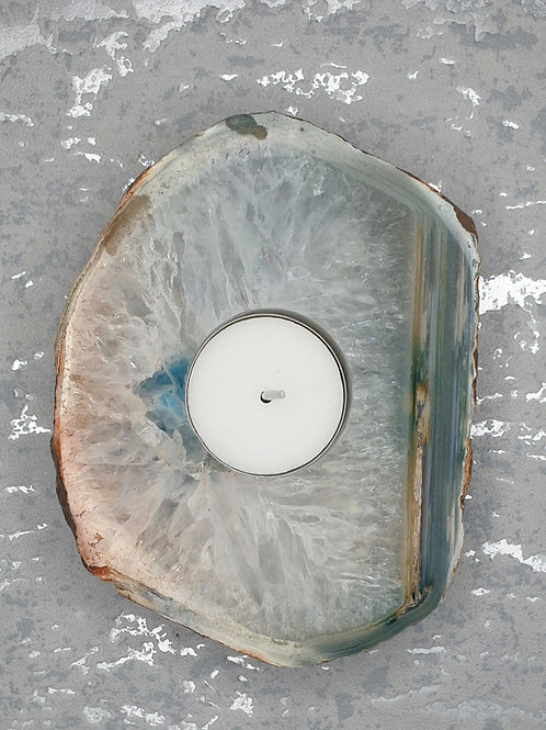 Agate tea light holder