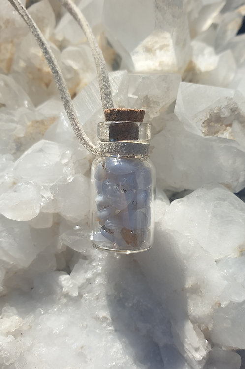 Blue lace agate bottled necklace
