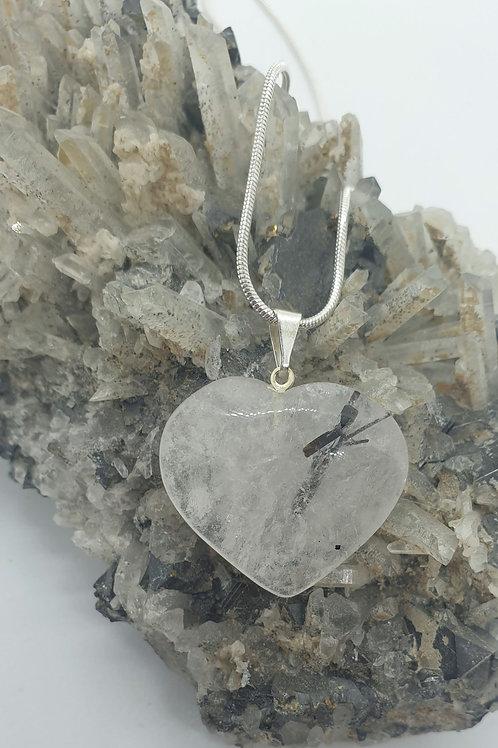 Tourmalited Quartz Heart Necklace