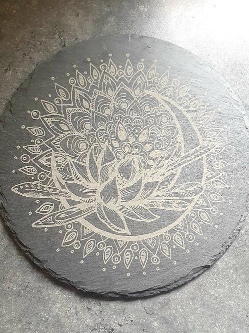 Lotus flower crescent moon mandala