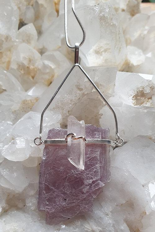 Lepidolite and clear quartz