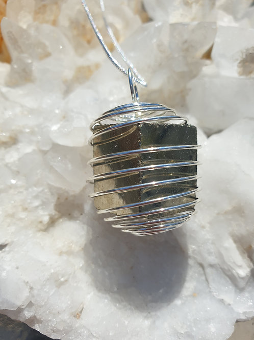 Pyrite cube caged necklace