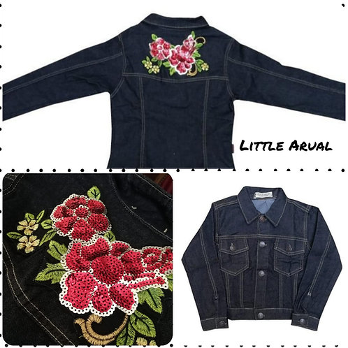 Campera de jean negra Flower talles del 2 al 10
