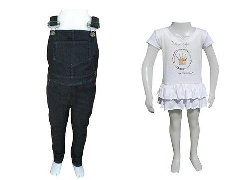 Jardinero Negro + Vestido Princesa talles del 2 al 12