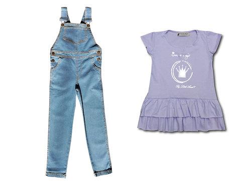 Jardinero Celeste + Vestido Princesa talles del 2 al 12