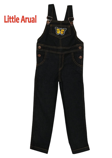 Jardinero de jean Negro de Nena con aplique talles del 12 al 16