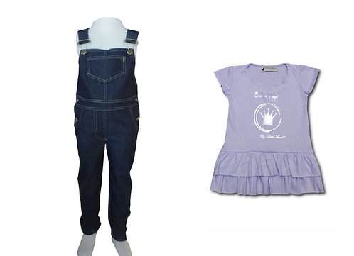 Jardinero Azul + Vestido Princesa talles del 2 al 12