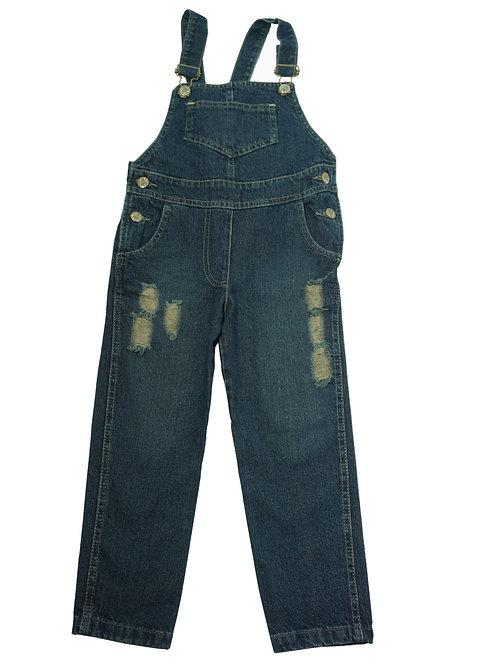 Jardinero de jean con roturas talles del 2 al 6