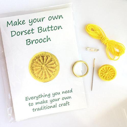 Make your own Dorset Button Kit -Cartwheel -Yellow