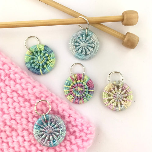 Pack of 5 Dorset Button Knitting Stitch Markers - Cool Pastels