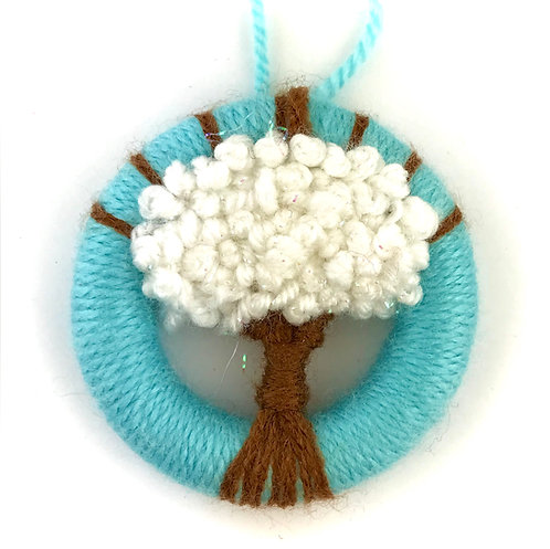 Dorset Button Winter Snow Tree Wall Hanging - Small