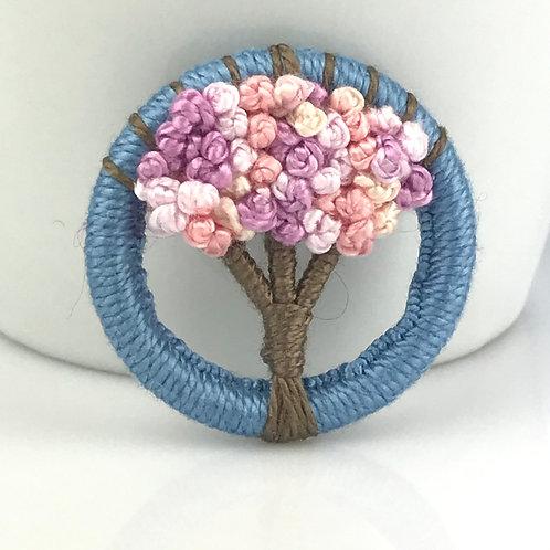 Spring Cherry Blossom Dorset Button Tree brooch