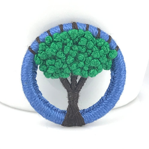 Green Tree Dorset Button brooch