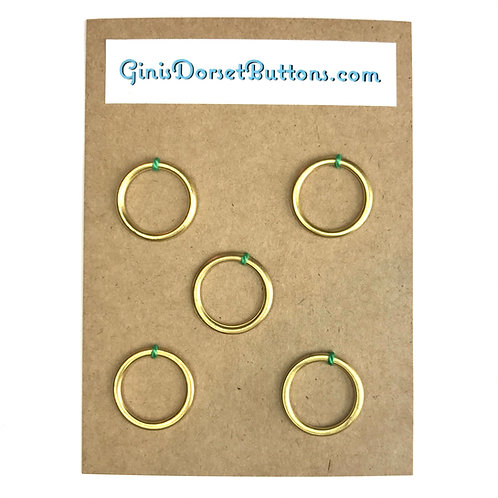 5x 19mm hollow brass rings for Dorset button making