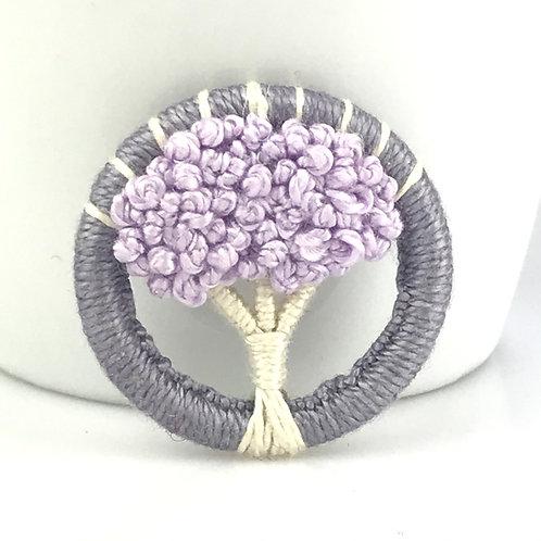 Lilac Tree Dorset Button brooch