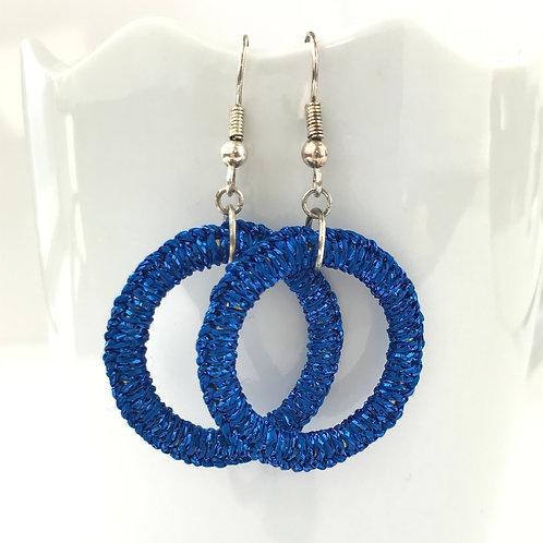 Blue Sparkle Ring Earrings