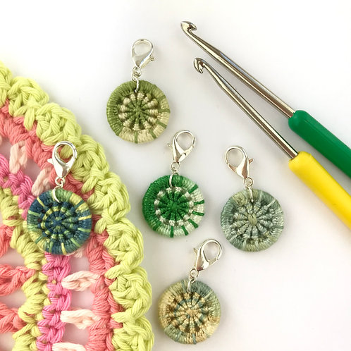 Pack of 5 Dorset Button Crochet Stitch Markers -Greens