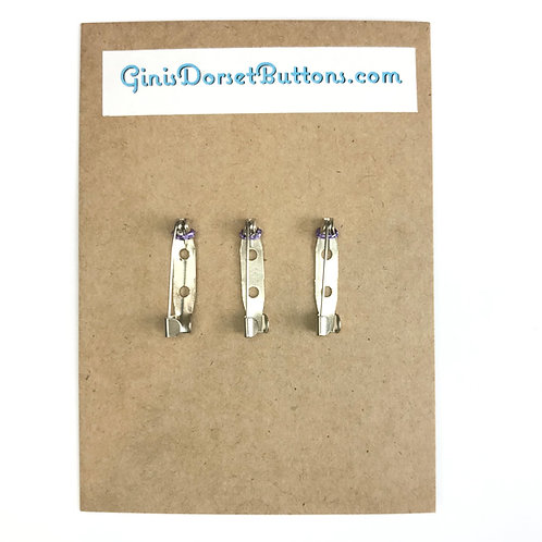 3x 25mm brooch pins for Dorset button making