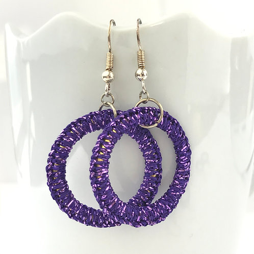 Purple Sparkle Ring Earrings