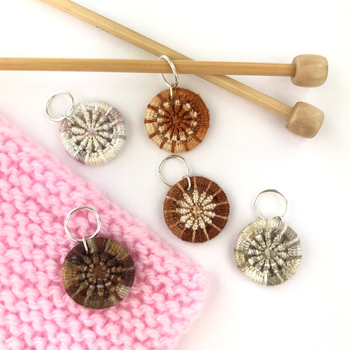 Pack of 5 Dorset Button Knitting Stitch Markers - Browns