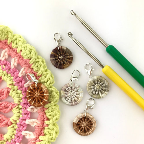 Pack of 5 Dorset Button Crochet Stitch Markers - Browns