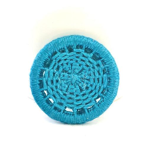 Teal Dorset button brooch - honeycomb design