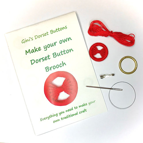 Make your own Dorset Button Kit - Bow -Red