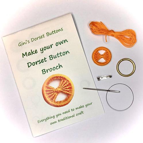 Make your own Dorset Button Kit - Bow - Orange