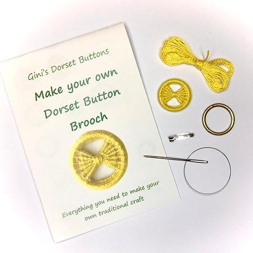 Make your own Dorset Button Kit - Bow -Yellow