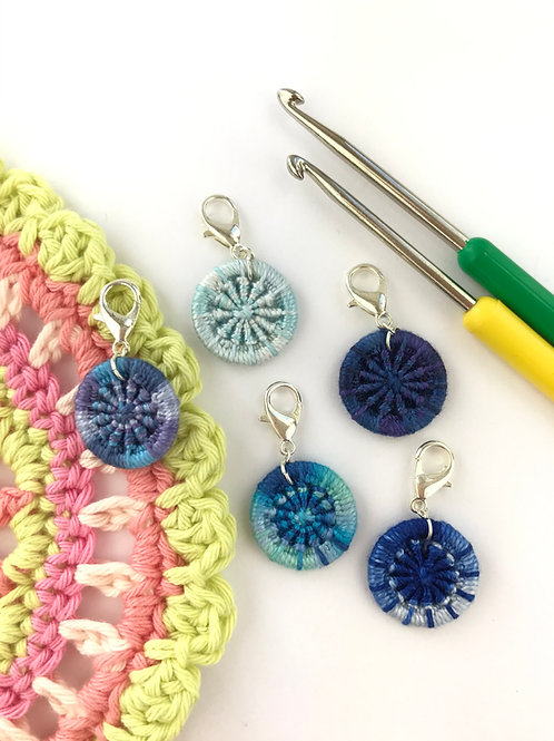Pack of 5 Dorset Button Crochet Stitch Markers - Blues