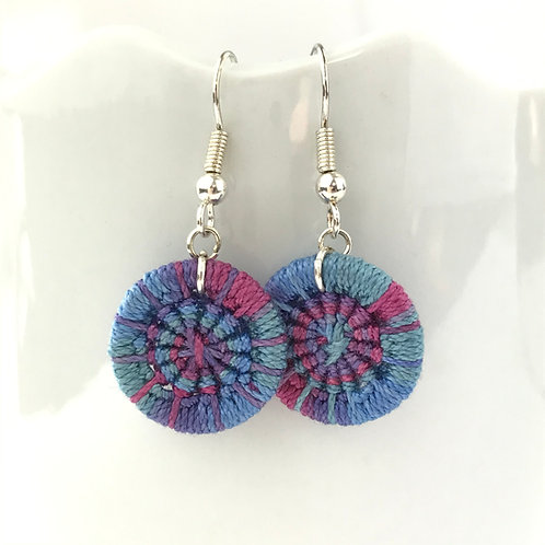 Blue Dorset Button Earrings