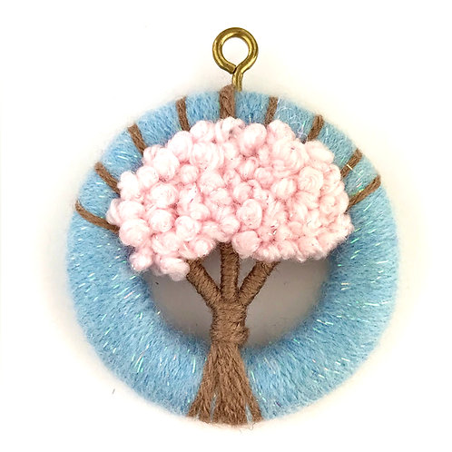 Dorset Button Spring Cherry Blossom Tree Wall Hanging - Small