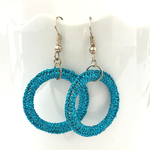 Turquoise Sparkle Ring Earrings