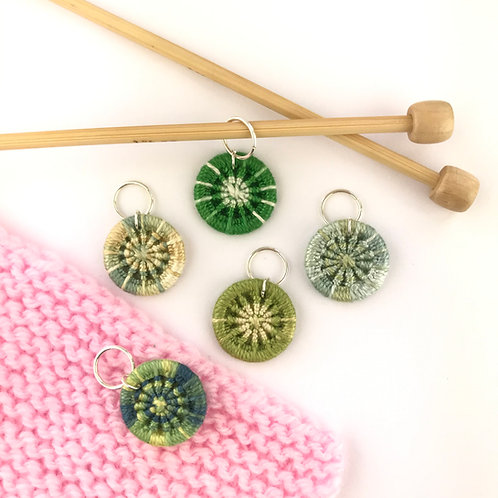 Pack of 5 Dorset Button Knitting Stitch Markers - Greens