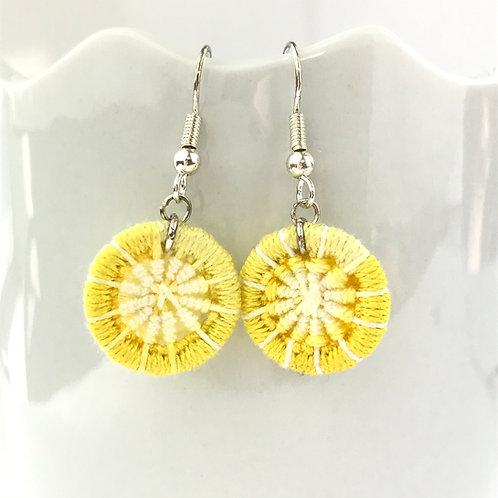 Yellow Dorset Button Earrings