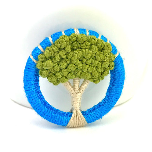 Olive Dorset Button Tree brooch