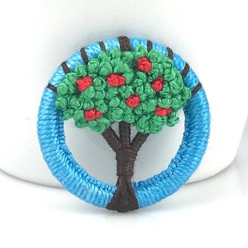 Summer Apple Dorset Button Tree brooch