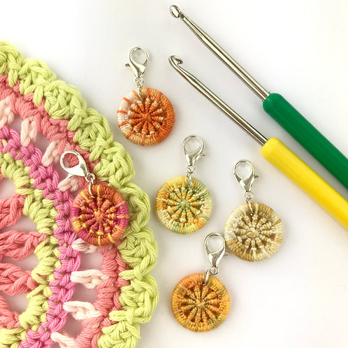 Pack of 5 Dorset Button Crochet Stitch Markers - Oranges