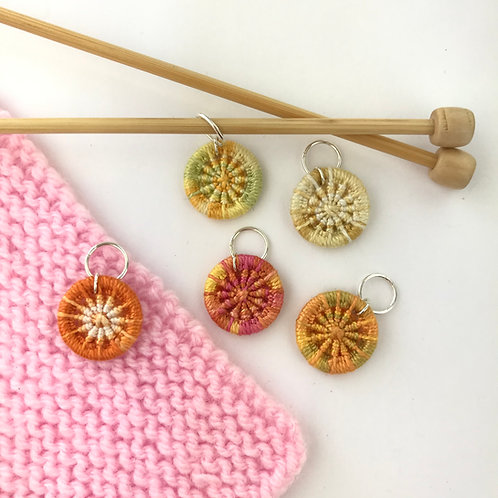 Pack of 5 Dorset Button Knitting Stitch Markers - Oranges