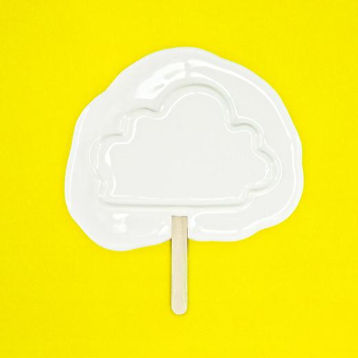 Melting cloud ice cream_yellow backgroun