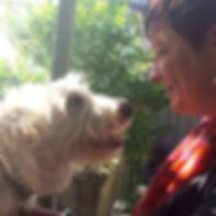 Bianca de Reus talking to Ned the dog